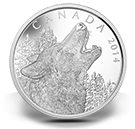 2014 - $125 - 1/2 Kilogram Fine Silver Coin - Howling Wolf