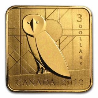2010 - $3 - Sterling Silver Gold Plated - Barn Owl - Wildlife Series