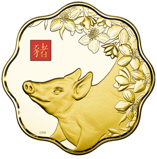 2019 - $2500 - Pure Gold One Kilogram Lunar Lotus Coin - Year of the Pig
