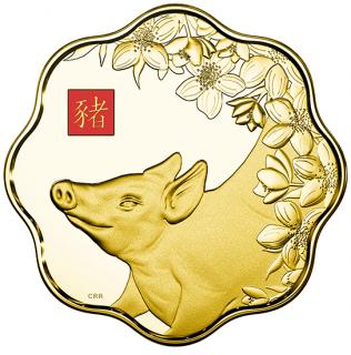 2019 - $2500 - Pièce de 1 kg en or pur - Lotus lunaire : Année du Cochon