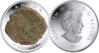 2010 - $4 - Silver Dinosaur Dromaeosaurus - Tax Exempt