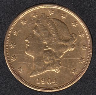 US 1904 Liberty Head $20 Dollars - Double Eagle Gold Coin - 33.44 grams - .900 Gold - .9675 Oz