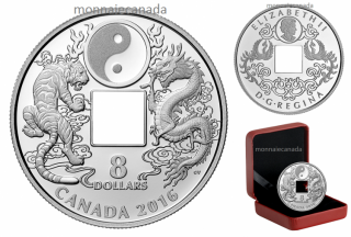 2016 - $8 - Pure Silver Coin – Tiger and Dragon Yin and Yang