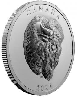 2021 - $25 - Pièce en argent pur au relief exceptionnel – Imposant bison