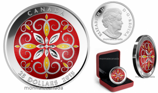 2015 - $25 - Fine Silver Ultra-High Relief Coloured Coin – Christmas Ornament