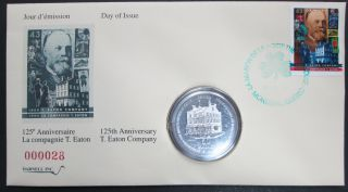 1994 Eaton 125 - $50 Dollars + Stamp - Darnell - 1 OZ Fine Silver Coin