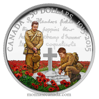 2015 - $50 - 5 oz. Fine Silver Coloured Coin – 100th Anniversary of In Flanders Fields