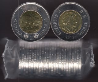 2012 Canada $2 Dollars - New Generation - Polar Bear - BU Roll 25 Coins - UNC