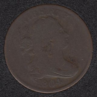 1804 - Crosslet '4' Stems to Wreath - Draped bust Half Cent