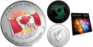 2017 - $5 - Proudly Canadian - Pure Silver Glow-in-the-Dark Coin