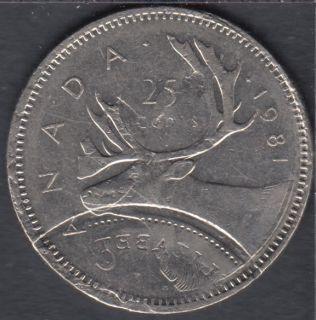 1981 - Double Struck Reverse **RARE** - Canada 25 Cents