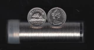 1968 Canada 5 Cents - 40 Coins in Plastic Tube - B.UNC