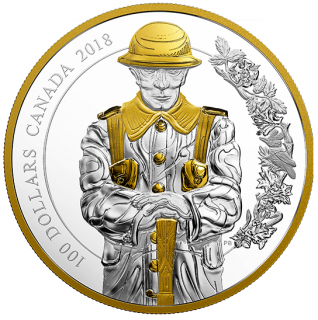 2018 - $100 - 10 oz. Pure Silver Gold-Plated Coin - Keepers of Parliament: The Soldier
