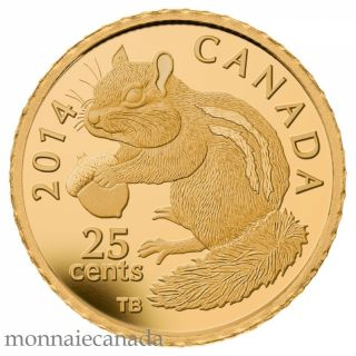 2014 - 25 Cents 0.5 g Pure Gold Coin - Chipmunk