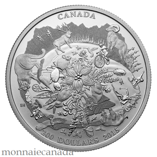 2015 - $200 for $200 - 2 oz. Fine silver coin - Canada's rugged mountains