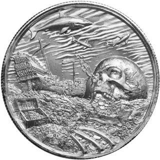 2 oz Elemetal Davy Jones Locker Ultra High Relief Silver Round (Privateer Series #7, New)