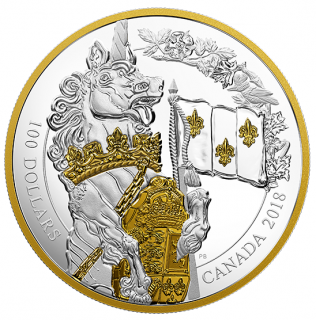 2018 - $100 - 10 oz. Pure Silver Gold-Plated Coin - Keepers of Parliament: The Unicorn