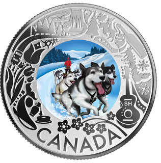 2019 - $3 - Pure Silver Coloured Coin - Dogsledding: Celebrating Canadian Fun and Festivities