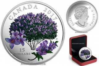 2015 - $15 - Pure Silver Coloured Coin - Celebration of Spring: Lilac Blossoms