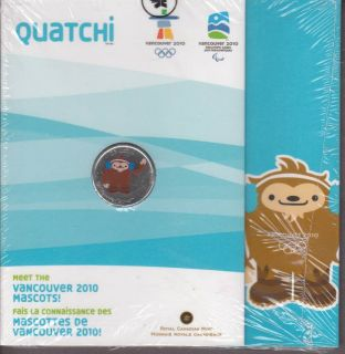 2010 - 25 cents - coloured Vancouver  Mascots