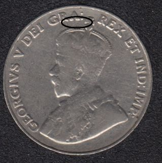 1933 - Die Break - R to Cross Attached - Canada 5 Cents