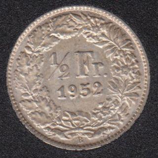 1952 B - 1/2 Franc - EF - Suisse