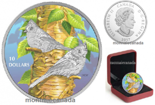 2017 - $10 - 1/2 oz. Pure Silver Coloured - Birds Among Nature's Colours - Tufted Titmouse