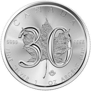 2018 30th Anniv. - Canada $5 - 1oz Fine Silver 9999 - Silver Maple Leaf