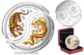 2018 - $10 - 1 oz. Pure Silver Coloured Coins - Yin and Yang: Tiger and Dragon