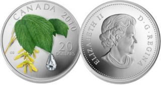 2010 - $20 - Fine Silver Coin - Maple Leaf Crystal Raindrop