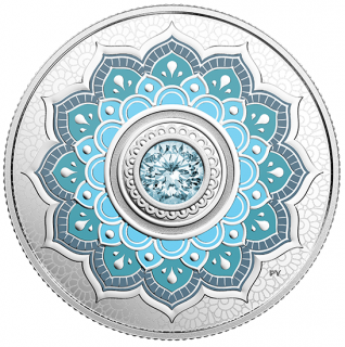 2018 - $5 - March Birthstone - Pure Silver Coin made with Swarovski® Crystal