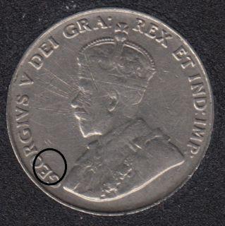 1935 - Die Break GEO Attached - Canada 5 Cents
