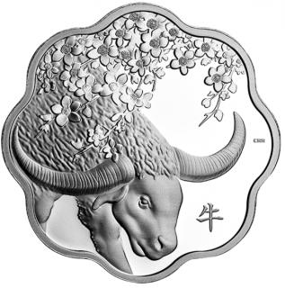 2021 - $15 - Pièce en argent pur Lotus lunaire – Année du Bœuf