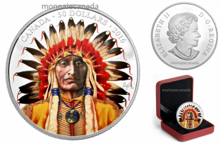 2016 - $50 - 5 oz. Pure Silver Coloured Coin – Wanduta: Portrait of a Chief