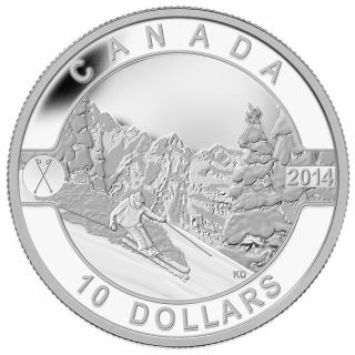 2014 - $10 - 1/2 oz. Fine Silver Coin - O Canada - Skiing Canada's Slopes