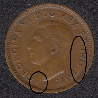 1939 - Break Bust to Rim - Break T IND IM Attached - Canada Cent