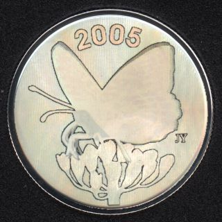 2005 - Proof - Spangled Fritillary - Hologram Butterfly - Sterling Silver - Canada 50 Cents