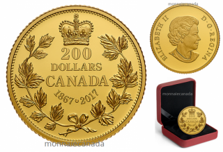 2017 - $200 - 1 oz. Pure Gold Coin – 150 Years of Passion: The Maple Leaf