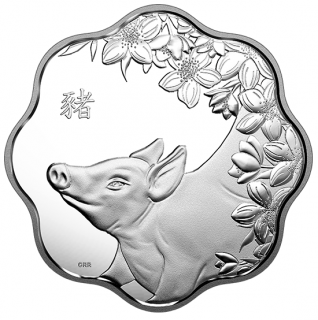 2019 - $15 - Pure Silver Lunar Lotus Coin - Year of the Pig