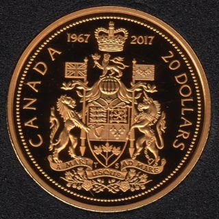 2017 - 1967 - Proof - Argent Fin - Plaqué Or - Canada 20 Dollars