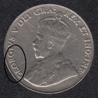 1932 - Die Break - GEORG Attached - Canada 5 Cents