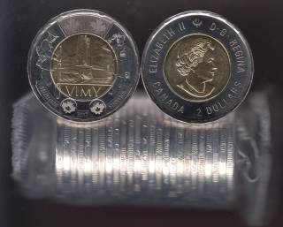 2017 Canada $2 Dollars - The Battle of Vimy Ridge - BU ROLL 25 Coins - UNC