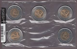 2011 Canada Deux Dollars Boreal Forest - Pack of 5 Circulation Sealed Coins
