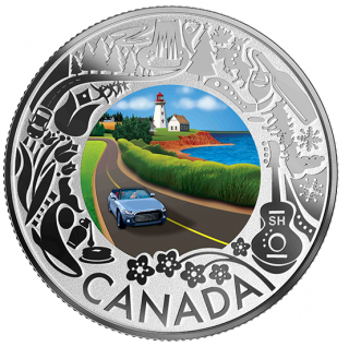 2019 - $3 - Pure Silver Coloured Coin - Coastal Drive: Celebrating Canadian Fun and Festivities