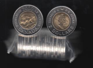 2000 Canada $2 Dollars - Knowledge -  25 Coins Roll - UNC