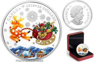 2018 - $20 - 1 oz. Pure Silver Coloured Coin - Murano Holiday Reindeer