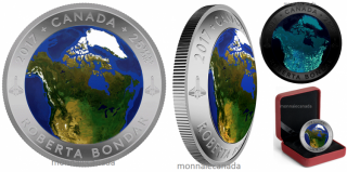 2017 - $25- Pure Silver Glow-in-the-Dark Coin – View of Canada From Space