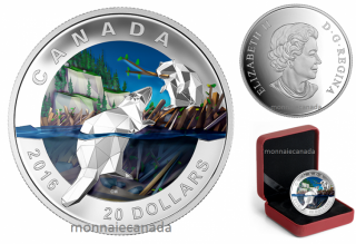 2016 - $20 - 1 oz. Fine Silver Coin – Geometry in Art: Beaver