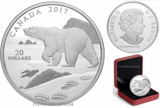 2017 - $20 - 1 oz. Pure Silver Coin – Nature's Impressions: Polar Bear