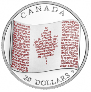 2018 - $20 - 1 oz. Pure Silver Coloured Coin - Canadian Flag
